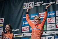 Ellen van Dijk (NED/Sunweb) finishes 3rd<br /> <br /> WOMEN ELITE INDIVIDUAL TIME TRIAL<br /> Hall-Wattens to Innsbruck: 27.8 km<br /> <br /> UCI 2018 Road World Championships<br /> Innsbruck - Tirol / Austria