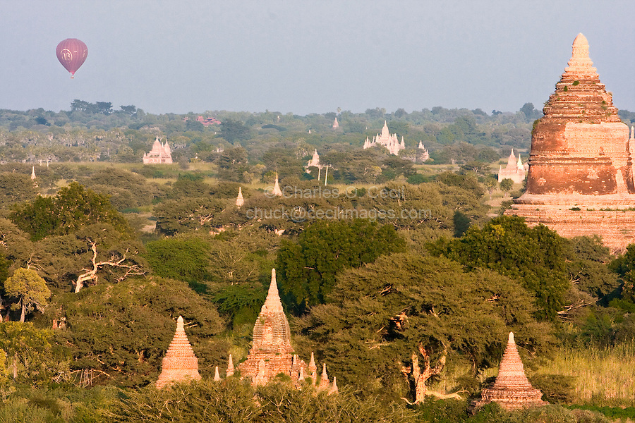 Myanmar, Burma, Bagan.  Hot-air Balloons offer Tourists an Aerial View of the Temples.