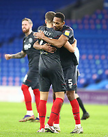 26th December 2020; Cardiff City Stadium, Cardiff, Glamorgan, Wales; English Football League Championship Football, Cardiff City versus Brentford; Vitaly Janelt and Ethan Pinnock of Brentford celebrate the 2-3 win