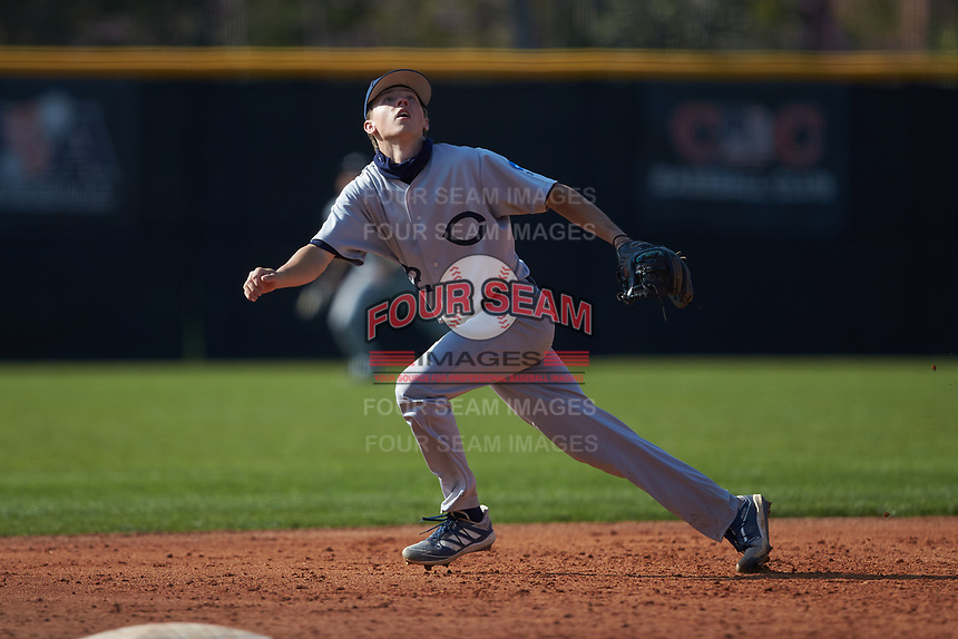 Catawba Indians third baseman Levi Perrell (22) on defense during game two of a double-header against the Queens Royals at Tuckaseegee Dream Fields on March 26, 2021 in Kannapolis, North Carolina. (Brian Westerholt/Four Seam Images)