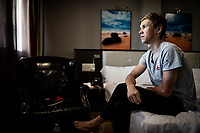 portrait of Carl Fredrik Hagen (NOR/Lotto-Soudal) in his hotel room in the morning ahead of Stage 14 of the 2019 Vuelta: from San Vicente de la Barquer to Oviedo (188km)<br /> <br /> La Vuelta 2019<br /> <br /> ©kramon