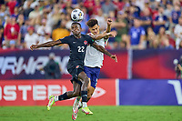 5th September 2021; Nashville, TN, USA;  Canada defender Richie Laryea challenges United States defender Antonee Robinson during a CONCACAF World Cup qualifying match between the United States and Canada on September 5, 2021 at Nissan Stadium in Nashville, TN.