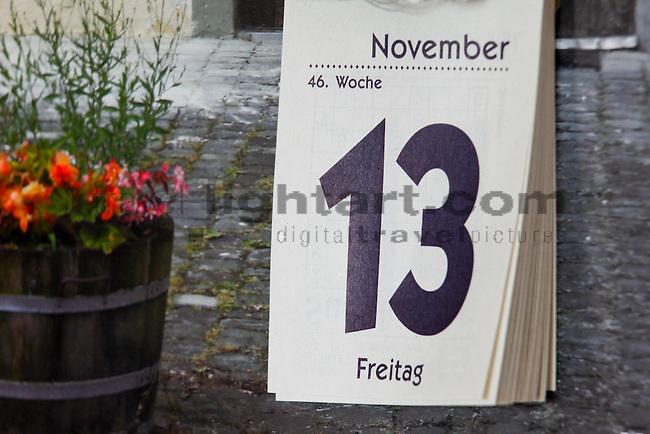 Friday 13, Freitag 13. Kalender, Calendar, Liechtenstein