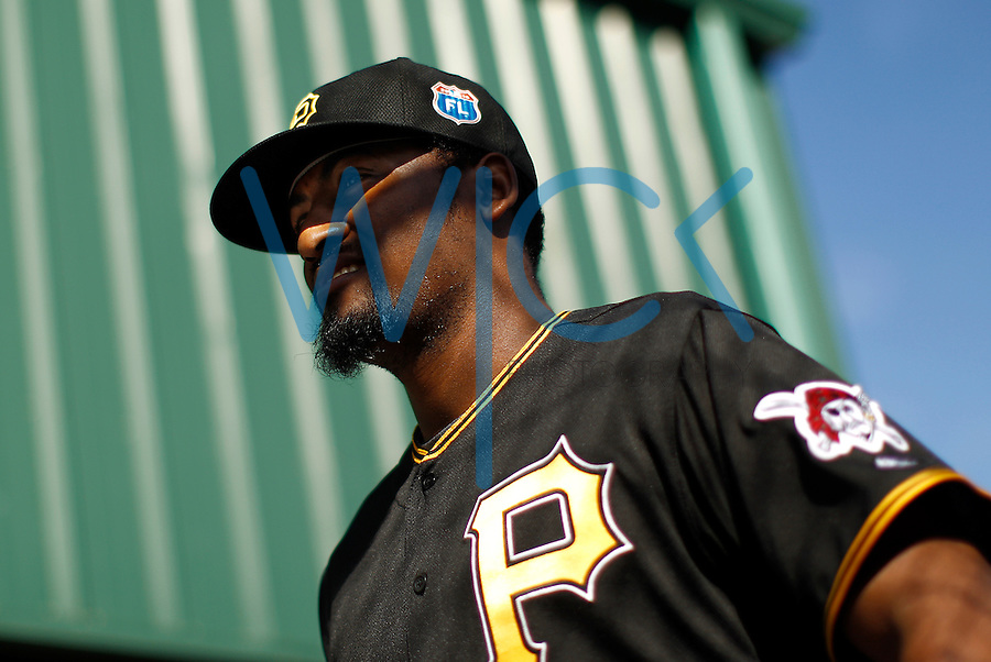 Arquimedes Caminero #37 of the Pittsburgh Pirates works out during spring training at Pirate City in Bradenton, Florida on February 21, 2016. (Photo by Jared Wickerham / DKPS)