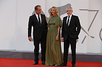 """VENICE, ITALY - SEPTEMBER 10: Vincent Lindon, Sandrine Kiberlain and Stéphane Brizé on the red carpet for the movie """"Un Autre Monde"""" during the 78th Venice International Film Festival on September 10, 2021 in Venice, Italy.<br /> CAP/GOL<br /> ©GOL/Capital Pictures"""