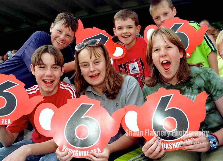 Pix: Shaun Flannery/shaunflanneryphotography.com...COPYRIGHT PICTURE>>SHAUN FLANNERY>01302-570814>>07778315553>>..28th August 1998..............Doncaster Town v Bath..Abbot Ale Cup final at Lords..Young Doncaster Town fans get behind the team during the Abbot Ale Cup at Lords. Pictured are Richard Clayborne, Laura Clayborne, Sarah Dickinson, Barry Middleton, Luke Wynne, James Millar.