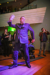 """© Joel Goodman - 07973 332324 . 05/02/2016 . Manchester , UK . Members of the audience dancing . """" Hacienda Classical """" debut at the Bridgewater Hall . The 70 piece Manchester Camerata and performers including New Order's Peter Hook , Shaun Ryder , Rowetta Idah , Bez and Hacienda DJs Graeme Park and Mike Pickering mixing live compositions . Photo credit : Joel Goodman"""
