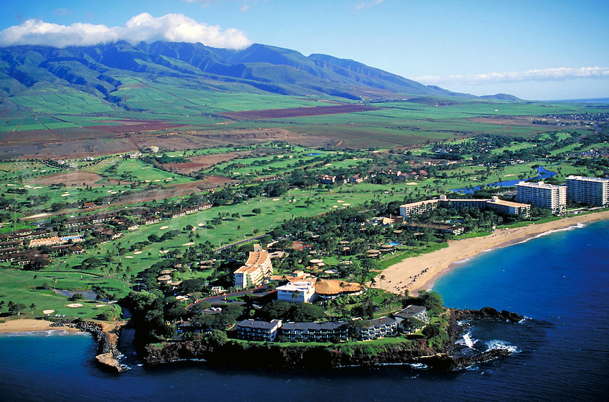 aerial view of Kaanapai beach looking south over the Sheraton Maui Hotel. sand, vacation, holiday, surf, tropical, hotel, luxury. Kaanapali Hawaii USA Maui.