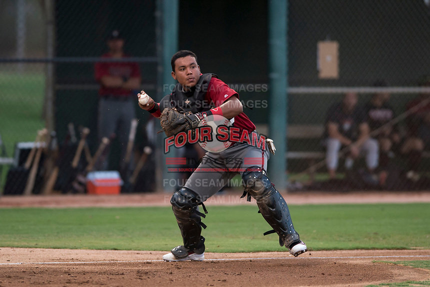 AZL Diamondbacks catcher Douglas Lanza (26) prepares to make a throw to first base during an Arizona League game against the AZL White Sox at Camelback Ranch on July 12, 2018 in Glendale, Arizona. The AZL Diamondbacks defeated the AZL White Sox 5-1. (Zachary Lucy/Four Seam Images)