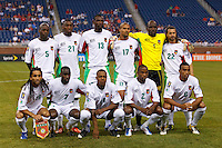Guadeloupe starting eleven before the CONCACAF soccer match between Panama and Guadeloupe at Ford Field Detroit, Michigan.