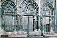 Front Porch of Chartres Cathedral. Historical photo of west facade. Chartres, France