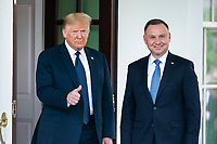 US President Donald J. Trump (L) welcomes  Polish President Andrzej Duda (R) to the White House in Washington, DC, USA, 24 June 2020. Duda, a conservative nationalist facing a tight re-election back home, is the first foreign leader to visit the White House in more than three months.<br /> Credit: Jim LoScalzo / Pool via CNP/AdMedia