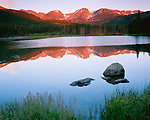Rocky Mountain National Park, CO<br /> Sunrise on Otis Peak, Hallett Peak, and Flattop Mountain with  reflections on Sprague Lake