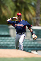 GCL Red Sox third baseman Stanley Espinal (15) throws to first during a game against the GCL Orioles on August 16, 2016 at the Ed Smith Stadium in Sarasota, Florida.  GCL Red Sox defeated GCL Orioles 2-0.  (Mike Janes/Four Seam Images)