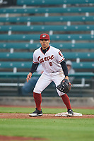 Altoona Curve first baseman Connor Joe (6) waits for a throw during a game against the New Hampshire Fisher Cats on May 11, 2017 at Peoples Natural Gas Field in Altoona, Pennsylvania.  Altoona defeated New Hampshire 4-3.  (Mike Janes/Four Seam Images)