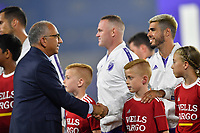 Orlando, FL - Wednesday July 31, 2019:  Carlos Cordeiro, Alexandro Pozuelo #20 prior to an Major League Soccer (MLS) All-Star match between the MLS All-Stars and Atletico Madrid at Exploria Stadium.