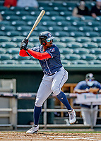 6 June 2021: New Hampshire Fisher Cats outfielder Demi Orimoloye in action against the Binghamton Rumble Ponies at Northeast Delta Dental Stadium in Manchester, NH. The Rumble Ponies defeated the Fisher Cats 9-6 to close out their 6-game series. Mandatory Credit: Ed Wolfstein Photo *** RAW (NEF) Image File Available ***