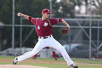 Josh Staumont of the Azusa Pacific Cougars, a potential first round draft choice in the 2015 MLB Draft, pitches against the Academy of Art at the Cougar Baseball Complex on February 27, 2014 in Azusa, California.  (Larry Goren/Four Seam Images)