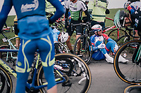 Mickaël Delage (FRA/Groupama-FDJ) is one of the casualties of the massive pile-up crash that happened with more than 100km to go and that was responsible for igniting the race.<br /> <br /> 61th E3 Harelbeke (1.UWT)<br /> Harelbeke - Harelbeke (206km)