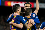 Lionel Andres Messi of FC Barcelona celebrates his goal with teammates Luis Alberto Suarez Diaz, Jordi Alba Ramos and Andre Filipe Tavares Gomes during the Copa Del Rey 2017-18 Round of 16 (2nd leg) match between FC Barcelona and RC Celta de Vigo at Camp Nou on 11 January 2018 in Barcelona, Spain. Photo by Vicens Gimenez / Power Sport Images