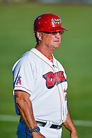 Orem Owlz manager Dave Stapleton (22) during the game against the Ogden Raptors in Pioneer League action at Home of the Owlz on June 25, 2016 in Orem, Utah. Orem defeated Ogden 4-1.  (Stephen Smith/Four Seam Images)