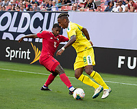 CLEVELAND, OH - JUNE 22: Armando Cooper #11 defends against Neil Danns #16 during a game between Panama and Guyana at FirstEnergy Stadium on June 22, 2019 in Cleveland, Ohio.