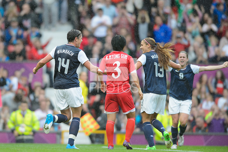 Manchester, England - July 31, 2012: The USA Women's soccer team 1-0 over North Korea during the opening round of the Olympic football tournament at Old Trafford. Abby Wambach celebrates.