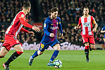Lionel Andres Messi of FC Barcelona (C) in action during the La Liga 2017-18 match between FC Barcelona and Girona FC at Camp Nou on 24 February 2018 in Barcelona, Spain. Photo by Vicens Gimenez / Power Sport Images
