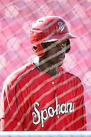 Spokane Indians outfielder Guillermo Pimentel #31 before a game against the Salem-Keizer Volcanoes at Volcanoes Stadium on August 10, 2011 in Salem-Keizer,Oregon. Salem-Keizer defeated Spokane 7-6.(Larry Goren/Four Seam Images)