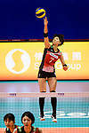 Yuki Ishii of Japan (R) serves the ball during the FIVB Volleyball Nations League Hong Kong match between Japan and Argentina on May 31, 2018 in Hong Kong, Hong Kong. Photo by Marcio Rodrigo Machado / Power Sport Images