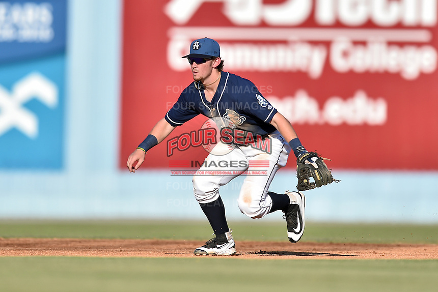 Asheville Tourists shortstop Brendan Rodgers (1) gets in position to field the ball during a game against the Charleston RiverDogs at McCormick Field on July 9, 2016 in Asheville, North Carolina. The RiverDogs defeated the Tourists 10-9. (Tony Farlow/Four Seam Images)