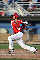 Batavia Muckdogs third baseman Hiram Martinez (15) at bat during a game against the Jamestown Jammers on July 25, 2014 at Dwyer Stadium in Batavia, New York.  Batavia defeated Jamestown 7-2.  (Mike Janes/Four Seam Images)