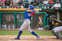 Javier Baez (9) of the Iowa Cubs at bat against the Salt Lake Bees in Pacific Coast League action at Smith's Ballpark on August 21, 2015 in Salt Lake City, Utah. The Bees defeated the Cubs 12-8.  (Stephen Smith/Four Seam Images)