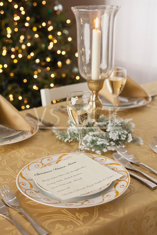 USA, Illinois, Metamora, Christmas table