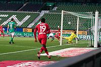 18th May 2020, WESERSTADION, Bremen, Germany; Bundesliga football, Werder Bremen versus Bayer Leverkusen; Florian Wirtz scores a header for Leverkusen past keeper Jiri Pavlenka Werder Bremen for 0-1