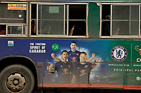 advertisement on a bus,<br /> Yangon on a sunny day of July 2017