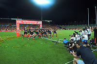 The NZ men's and women's teams perform a haka after winning the cup finals. Day two of the 2020 HSBC World Sevens Series Hamilton at FMG Stadium in Hamilton, New Zealand on Sunday, 26 January 2020. Photo: Dave Lintott / lintottphoto.co.nz