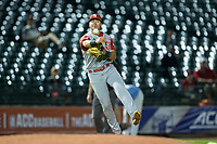 North Carolina State Wolfpack third baseman Evan Mendoza (18) makes a throw to first base against the North Carolina Tar Heels in Game Twelve of the 2017 ACC Baseball Championship at Louisville Slugger Field on May 26, 2017 in Louisville, Kentucky.  The Tar Heels defeated the Wolfpack 12-4 to advance to the semi-finals.  (Brian Westerholt/Four Seam Images)