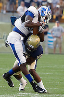 Pitt defensive back Antwuan Reed put a hit on a Bulls ball carrier.. The Pittsburgh Panthers beat the Buffalo Bulls 35-16 at Heinz field in Pittsburgh, Pennsylvania on September 3, 2011