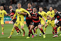 26th May 2021; Bankwest Stadium, Parramatta, New South Wales, Australia; A League Football, Western Sydney Wanderers versus Wellington Phoenix; Ben Waine of Wellington Phoenix and Graham Dorrans of Western Sydney Wanderers wait for the corner kick to arrive in the box