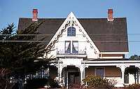 Mendocino CA: Gothic Revival House, c. 1855. 740 Albion St.  Photo '83.