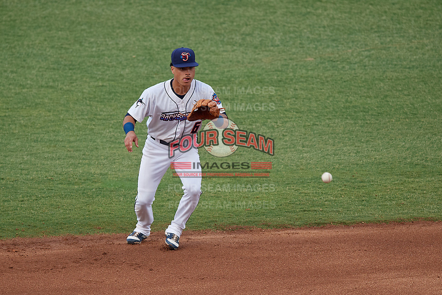 Jacksonville Jumbo Shrimp shortstop Bryson Brigman (6) fields a ground ball during a Southern League game against the Mobile BayBears on May 28, 2019 at Baseball Grounds of Jacksonville in Jacksonville, Florida.  Mobile defeated Jacksonville 2-1.  (Mike Janes/Four Seam Images)