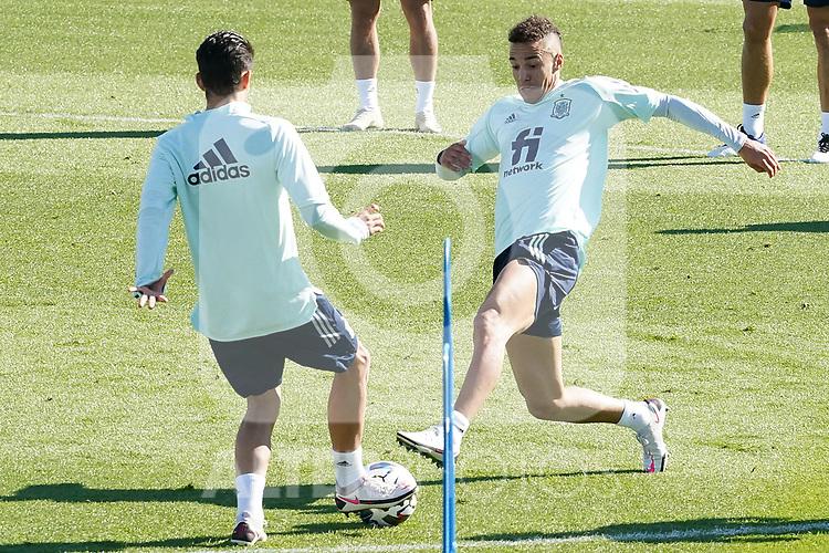 Spain's Dani Ceballos (l) and Rodrigo Moreno during training session. October 6,2020.(ALTERPHOTOS/Acero)