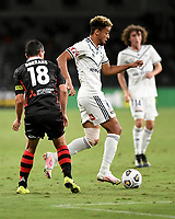 10th February 2021; Bankwest Stadium, Parramatta, New South Wales, Australia; A League Football, Western Sydney Wanderers versus Melbourne Victory; Ben Folami of Melbourne Victory runs past Graham Dorrans of Western Sydney Wanderers