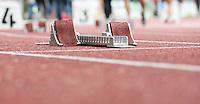 Startblock für Sprinter aus ebenerdiger Perspektive. Foto: Jan Kaefer / aif