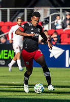 WASHINGTON, DC - MARCH 07: Ola Kamara #9 of DC United on the attack during a game between Inter Miami CF and D.C. United at Audi Field on March 07, 2020 in Washington, DC.