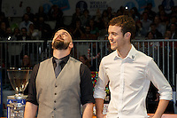 MELBOURNE, 26 MAY - The top 2 finalists Matthew Perger and Pete Licata wait for the announcement of the winner of the 2013 World Barista Championship held at the Melbourne Show Grounds in Melbourne, Australia. Photo Sydney Low / syd-low.com
