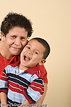 portrait of preschool age boy with his mother or grandmother vertical