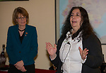 """Donatella Hunter, right, speaks during the Reno Magazine """"Bubbles Tasting"""" event at Total Wine in Reno on Friday night, February 9, 2018."""