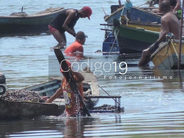 Recife (PE), 29/03/2021 - Pescadores-Recife - Pescadores de Mariscos no Rio Capibaribe, rio que corta o centro do Recife nesta segunda-feira (29)